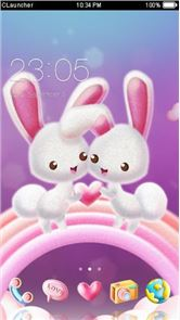Love Pink Rabbit Pet Theme image